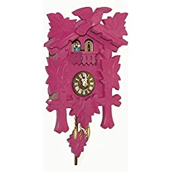 Kuckulino Black Forest Clock with quartz movement and cuckoo chime, turning dancers, incl. battery TU 2018 PQ pink