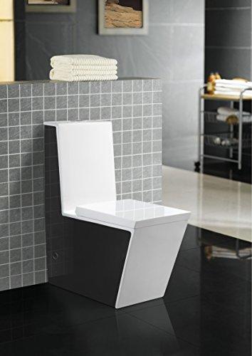 Art-of-Baan® - SONDERPOSTEN - Design Boden WC mit Spülkasten Keramik mit Lotuseffekt, schwarz/weiss & Soft-Close Sitz, Stand Toilette, Tiefspüler B-Ware (1883 NEU)