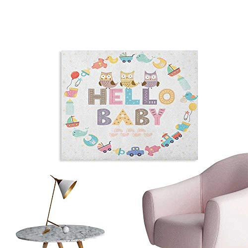 Anzhutwelve Baby Shower Wall Sticker Decals Hello Baby Quote with Kids Elements and Funny Owl Birds Welcome Newborn Party Cool Poster Multicolor W48 xL32]()