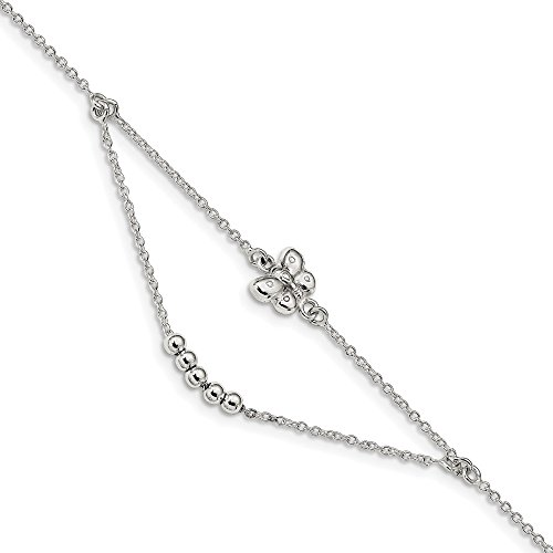 925 Sterling Silver 9 Inch 1 Adjustable Chain Plus Size Extender Butterfly Anklet Ankle Beach Bracelet Fine Jewelry For Women Gifts For Her