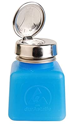 MENDA 35282 One Touch Stainless Steel Liquid Dispenser Pump, ESD Safe durAstatic Square Bottle, 4 oz, High Density Polyethylene/Stainless Steel, Blue