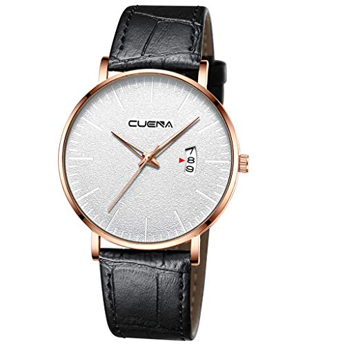 Men's Ultra-Thin Quartz Analog Date Wrist Watch with Black Leather -