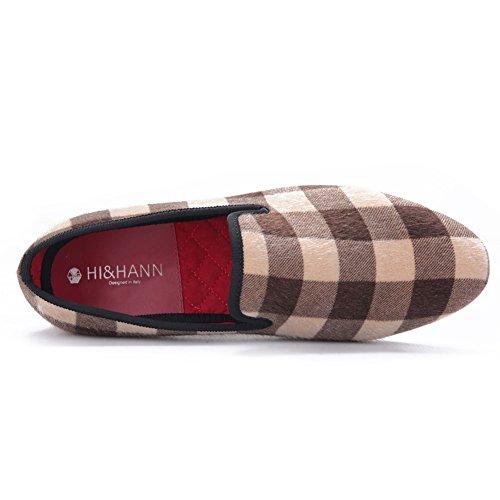 97109c46b02f8 new HI&HANN Mixed Color Plaid Pattern Men Velvet Shoes Slip-on ...