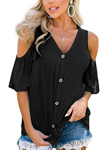 Spadehill Women's Cold Shoulder Cotton Short Sleeve Blouse Casual Button Down V Neck Top Black XL