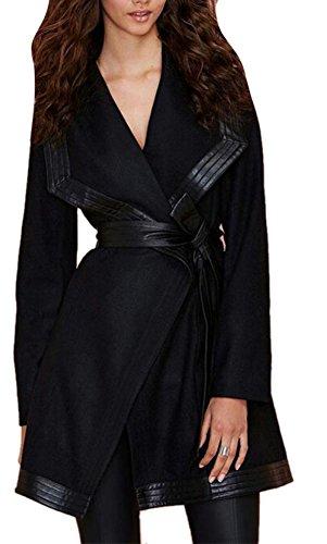 Belted Tweed Belt (Enlishop Women's Cool Slim Black Leather Shawl Collar Belt Wool Wrap Coat)