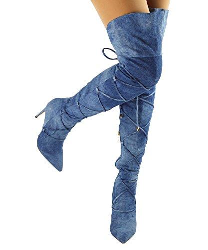 Paris Peach Julia-1 Wrap-Around-Spitzen-Spitze Zehensandaletten Overknee-Stiefel - Exklusiv von Room Of Fashion Denim