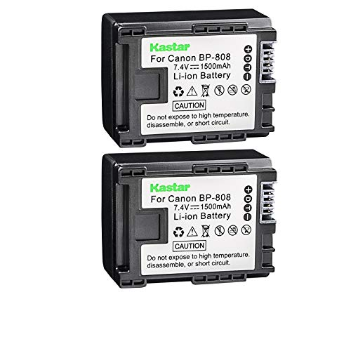 Kastar BP808 Battery (2-Pack) for Canon BP-807, BP-808, BP-809 and Canon HFM400 HF100 M300 S100 S200 FS36 FS37 HF200 HFS11 HF100 HF20 HG21 FS406 Cameras
