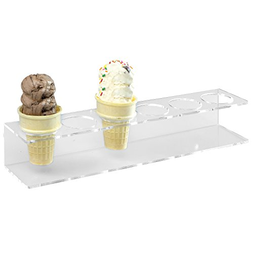 6 Slot Modern Clear Acrylic Ice Cream Cone Display Holder Stand, Snow Cone Dessert Rack