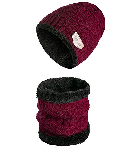 t Beanie and Circle Scarf with Fleece Lining 2 Pieces Warm Hat Set for Women ()