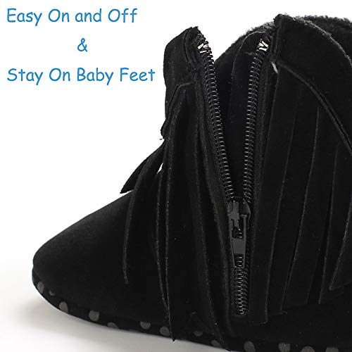 TIMATEGO Baby Girl Boots with Tassel Side Zipper Non Slip Stay On Booties Infant Toddler First Walker Winter Boots 3-18 Months
