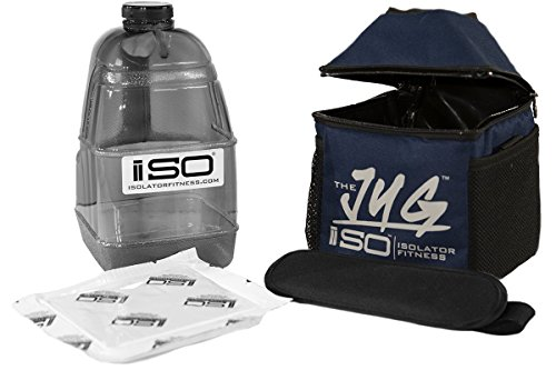 Jugs Combo (Isolator Fitness ISOJUG Combo Insulated One Gallon Water Jug Holder and One Gallon BPA Free Gallon Jug with ISOBRICK and Shoulder Strap -Made in USA (Navy Blue))