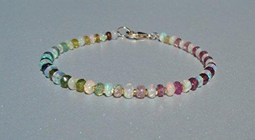 Opal Tourmaline Bracelet - JP_Beads Opal Bracelet, Ethiopian Opal Bracelet, Tourmaline Bracelet, October Birthstone, Dainty Beaded Bracelet, Gemstone Bracelet 3.5 mm