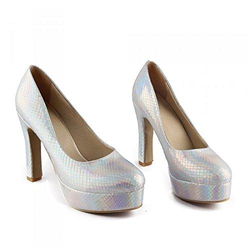 zapatos tacón de sexy de en de nocturno Zapatos la zapatos de Europea mujer alto y zapatos mujer Señoras de alto club de serpiente mujer americana zapatos tacón piel de Silver soltera interior Ez4wBqpp