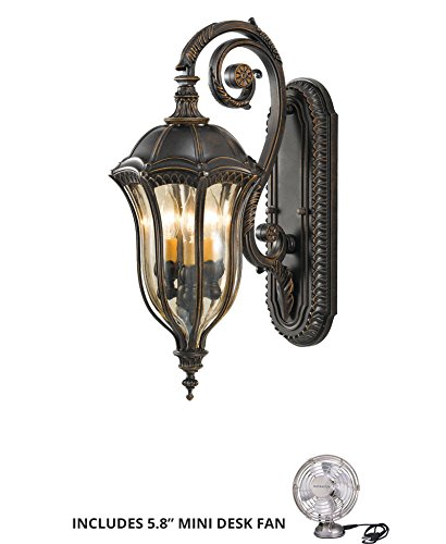 - Feiss OL6002WAL, Baton Rouge Outdoor Wall Sconce Lighting, 180watt, Walnut (Includes Mini Desk Fan)