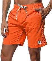 SHEKINI Men's Swim Trunks Quick Dry Slim fit Lightweight Beach Shorts with Poc