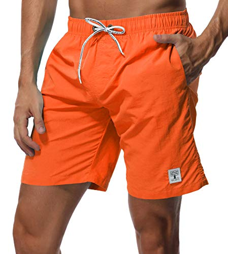 SHEKINI Men's Swim Trunks Short Quick Dry Slim fit Lightweight (Orange - No Mesh Lining, Small (Waist:28