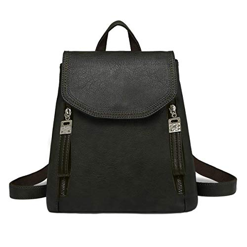 JOSEKO Women Backpack, Leather Flap Backpack Purse Casual Daypack for Ladies College Girls with Adjustable Straps Black 9.4