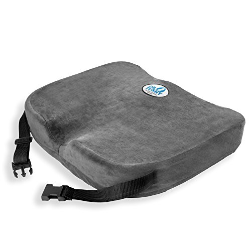 Memory Foam Chair Cushion Pillow that Straps On, Best Comfort & Wider for Lower Back Pain, Sciatica, Wheelchairs, & Car Seats by Dr. Tushy