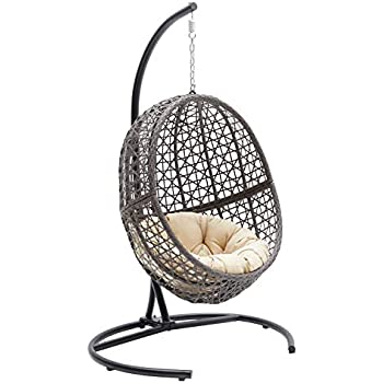 Pleasing Resin Wicker Hanging Egg Chair Outdoor Patio Furniture With Cushion And Stand Steel Frame Espresso Andrewgaddart Wooden Chair Designs For Living Room Andrewgaddartcom