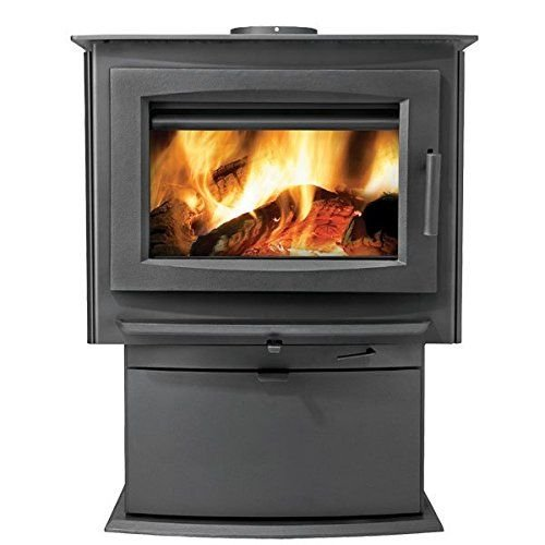 Large Wood Stove Conjunction with Pedestal - Metallic Charcoal