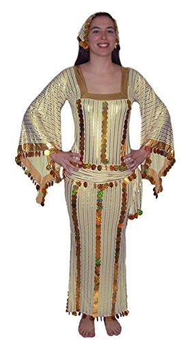 Women Belly Dance Folkloric Baladi Egyptian Galabeya Dancing Dress Costume (S/M, Cream& gold)