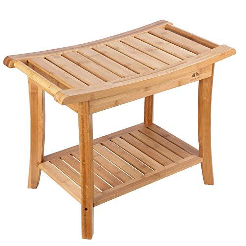 Dapang Bambus-Duschsitzbank mit Ablage, Badezimmerhocker aus Holz, Deluxe-Organizer-Hocker für die Whirlpool-Badewanne…