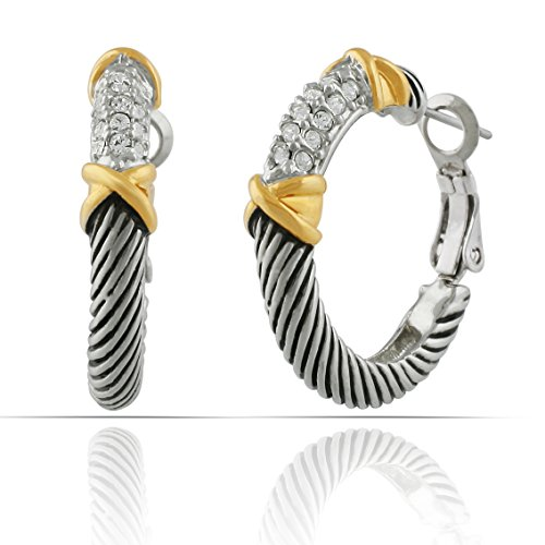 - JanKuo Jewelry Two Tone Intertwined with Pave Crystal Stone Omega Back Hoops Earrings