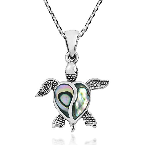 Love Life Sea Turtle Heart Abalone Shell .925 Sterling Silver Pendant Necklace - Sterling Silver Sea Turtle Pendant