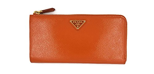"Prada Saffiano ""Papaya"" Vernice Leather Long Wallet Clutch Bag With Box"
