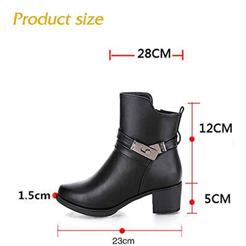 Donna E Women Stivaletti Da Utility Warming In Footwear Inverno Mid autumn Autunno Black Pelle Work qYStYw8