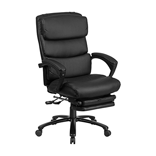 Offex High Back Black Leather Executive Reclining Swivel Office Chair with Comfort Coil Seat Springs and Padded Armrests
