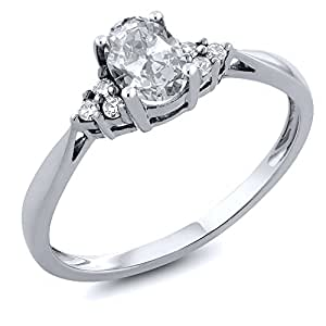 14K White Gold White Topaz and Diamond Women's Ring 0.56 cttw, Available in size (5,6,7,8,9)