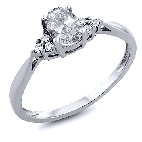 14K White Gold White Topaz and Diamond Women's Ring (0.56 Cttw, Available in size 5,6,7,8,9)