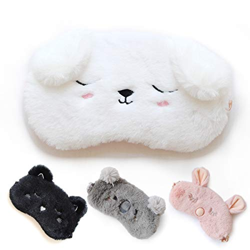 Cute Sleep Mask - Soft and Comfortable Animal Plush Blindfold Eye Cover for Kids Girls Women, Great Eyeshade for Travel, Shift Work, Meditation, Washable (White)
