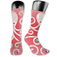 BRECKSUCH Octopus and Love Heart Unisex Compression Socks Sports 3D Printed Stocking Running&Fitness Thich-high Long Length Socks