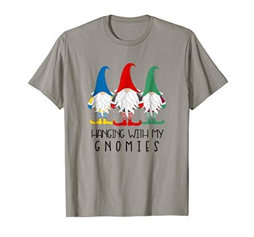 Hanging With My Gnomies T-shirt Christmas Nordic Gnome Santa