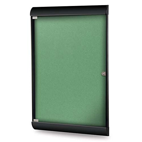 Ghent Manufacturing SILH20478 42.12 x 27.75 in. 1-Door Black Frame Silhouette Enclosed Bulletin Board with Vinyl Fabric44; Spruce