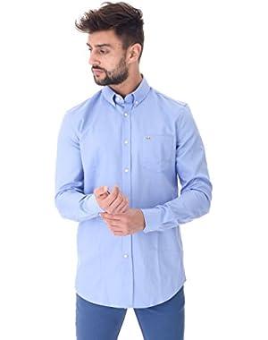 Men's Men's Blue Mini Pique Shirt in Size 40-M Blue