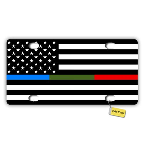 Tobe Yours License Plate Cover Thin Line USA Flag American Flag Blue Green and Red Stripe Printed Auto Truck Car Front Tag Metal License Plate Frame Cover 6x12