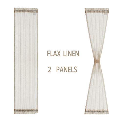 Sidelight French Door Curtains 72' Long Flax Linen Blend Sheer Door Panels Privacy Side Door Curtains Including Tiebacks for Sliding Glass Door Patio Door Windows, Natural, 25Inch Wide x 2 Pieces