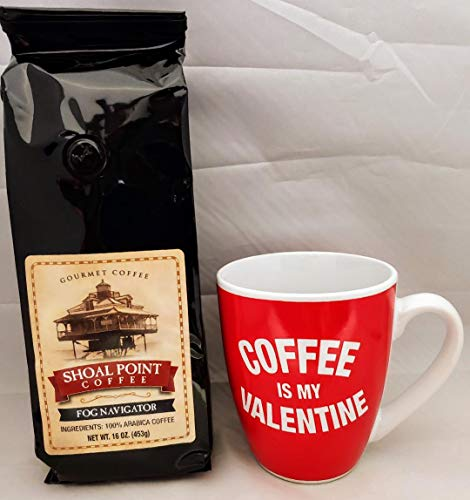 Ground Coffee and Mug Valentine's Day Gift Set (Fog Navigator)