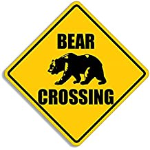 BEAR Crossing Sign Shaped Sticker (hunt aution decal)