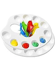 Plastic Palette, 2 PCS Professional 10-hole Paint Palette for Kid Diy Art Craft Painting (8.86 Inch)