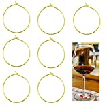 BronaGrand 100 Pieces Gold Plated Wine Glass Charm Rings Earring Hoops