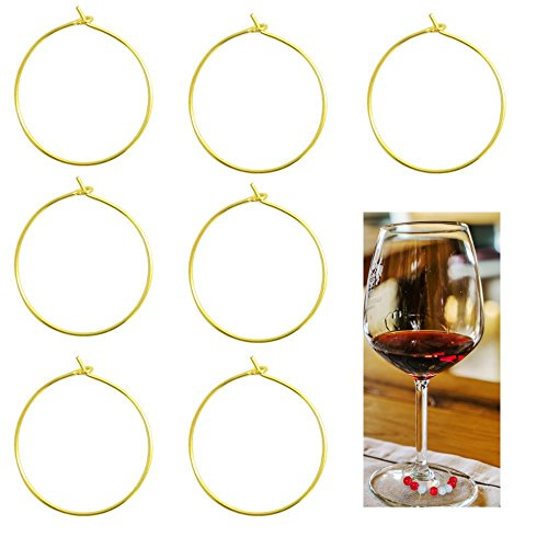 BronaGrand 100 Pieces Wine Glass Charm Rings Earring Hoops (Gold) (Ring Charms Findings)