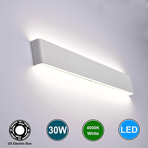 Aipsun 30W/32.6in Indoor Modern Rectangular LED Wall Mount Sconce Up and Down Wall Lamp Vanity bar Light Bedroom Living Room Bathroom Pathway Staircase Lighting Fixtures(White,White)