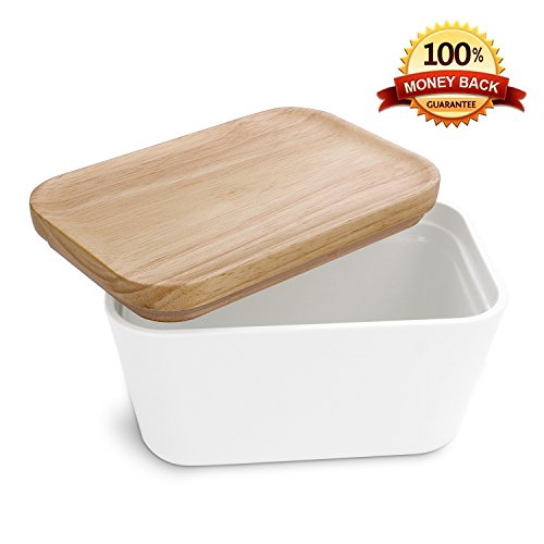 Mobaa Large White Melamine Butter Dish & Wooden Lid Multipurpose (Large Image)