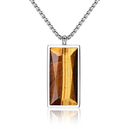 COAI Mens Healing Rectangle Tiger Eye Genuine Stones Pendant Amulet Necklace ()