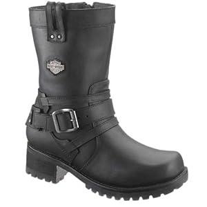 Harley-Davidson Women's Vonda 7.5-Inch Black Leather Motorcycle Boots D83645