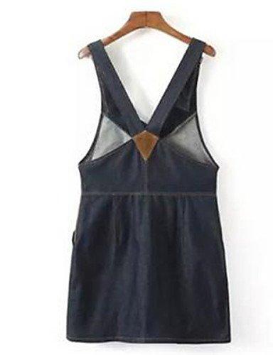 PU&PU Robe Aux femmes Denim Street Chic,Couleur Pleine A Bretelles Au dessus du genou Coton , blue-l , blue-l